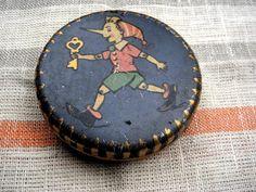Vintage soviet tin box for candy Buratino (Pinocchio)