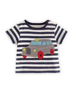 Vehicle Appliqué T-shirt (Navy Stripe/Taxi)