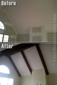 Faux ceiling beams in master...would be amazing with cathedral ceilings and a simple low-hanging ceiling fan.