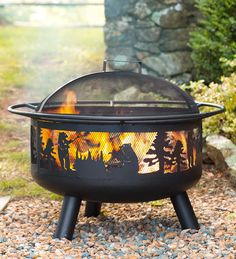 Bear Camp Fire Pit with Domed Spark Guard - design features bears roasting marshmallows over the campfire.