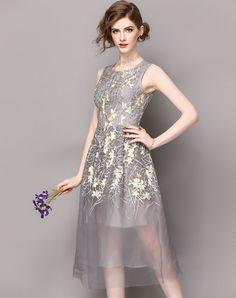 #AdoreWe #VIPme A-Line Dresses❤️Designer WLZD Gray Floral Embroidery Gauze Midi Dress - AdoreWe.com