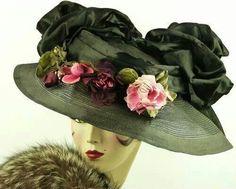 VINTAGE HAT 1910 EDWARDIAN, SISAL TITANIC HAT, w HUGE BOWS, ROSES & HAT PIN
