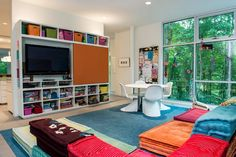 Sensational Kids Play Room Near Colorful Sofas Along With Clear Shelves Near Clear Contemporary Kids Furniture