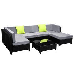 New 7 pcs Black Wicker Rattan 6 Seater Outdoor Lounge Sofa Set - Grey Outdoor Furniture Online, Affordable Outdoor Furniture, Outdoor Wicker Furniture, Wicker Headboard, Wicker Bedroom, Wicker Couch, Wicker Mirror, Wicker Shelf, Wicker Table
