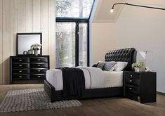 Amazing offer on Roundhill Furniture Blemerey 110 Wood Bonded Leather Bed Group Queen Bed, Dresser, Mirror Night Stand, Black online - Thechicfashionideas White Wood Bedroom Furniture, Living Room Furniture, Home Furniture, Studio Furniture, Furniture Layout, Kitchen Furniture, Black Bedroom Sets, Kids Bedroom Sets, Contemporary Bedroom