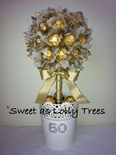 60th birthday, gold & white Ferrero Rocher lolly tree.