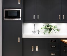 Contemporary Kitchen and Utility Area - Bespoke Kitchens - Tom Howley Black Kitchen Cabinets, Kitchen Cabinetry, Black Kitchens, Kitchen Redo, Kitchen Design, Cupboards, Kitchen Ideas, Under Stairs Cupboard, Handmade Kitchens