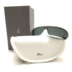 Pre-Owned Dior Gunmetal Frame Dark Gray Lenses Wraparound Sunglasses... ($249) ❤ liked on Polyvore featuring accessories, eyewear, sunglasses, lens sunglasses, clear lens glasses, gunmetal sunglasses, white glasses and christian dior sunglasses