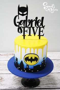 Gorgeous kids batman cake, created for Gabriel's 5th birthday   Made by Sweet by Nature, Melbourne VIC