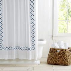 Moroccan Gate Shower Curtain #williamssonoma - white for small green bathroom?