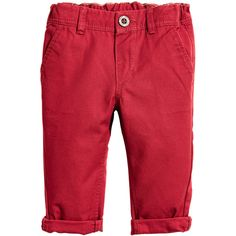 Chinos 9,99 (37 BRL) ❤ liked on Polyvore featuring pants, faux-leather pants, red chino pants, red trousers, cotton twill pants and chinos pants