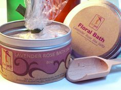 Lavender Buds and  Rose Petals  Bath Salts Aromatherapy with Lavender and Geranium Essential oil via Etsy