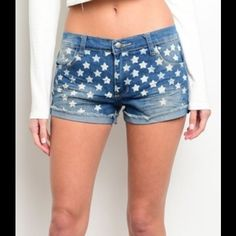 Star Shorts These shorts are available in Small and Medium. These are great fitting shorts, they have some stretch to them, so they don't gap in the back if you have some booty! The cuff is seen in. Small will fit size 2-4 and Medium will for 5-6. Shorts Jean Shorts