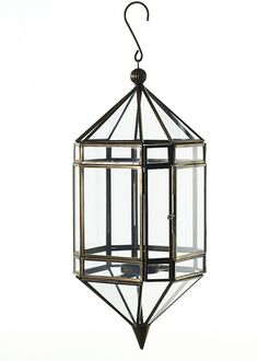 "Jackson Geometric Metal Hanging Candle Lantern 12"" Tall"