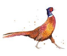 Pheasant, Christmas animals, Christmas, bird art Art Print