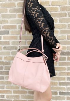 pebble leather Inside one zip and one open pocketsFabric liningMagnetic snap compartmentsHandles with dropLonger strap with drop for shoulder or crossbody L x H x Pink Crossbody Bag, Pink Sale, Coach Outlet, Fashion 2020, Pebbled Leather, Leather Shoulder Bag, Kate Spade, Purses, Womens Fashion