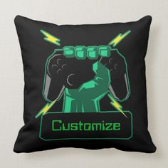 Shop Personalized Power Gamer Throw Pillow created by ManCavePortal. Custom Pillows, Knitted Fabric, Colorful Backgrounds, Your Design, Party Supplies, Create Your Own, Nerd, Geek Stuff, Man Shop