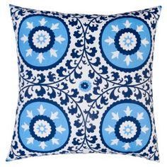 Check out this item at One Kings Lane! Suzani 20x20 Cotton Pillow Blue