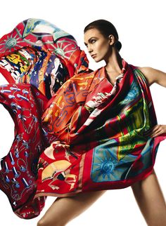 Karlie Kloss wrapped in amazing Hermes printed scarves for Harper's Bazaar Spain (April 2013 issue), photographed by David Sims