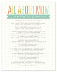 "Cool questions to get to know your mom better... perfect for Mother's Day! ""All About Mom Questionnaire"""