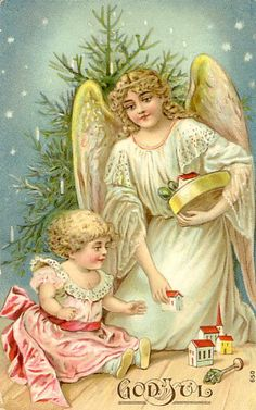 Antique Christmas Angel Postcard