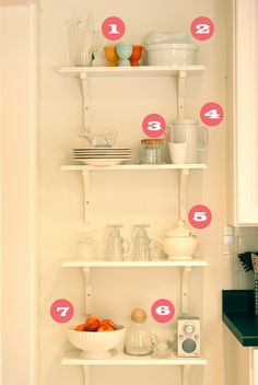 open shelving--perfect additional storage on the narrow wall in our kitchen