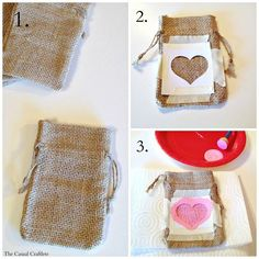 DIY Valentine's Day Burlap Gift Bags - Valentinstag Burlap Gift Bags, Burlap Sacks, Cute Valentines Day Gifts, Valentines Day Decorations, Diy Valentine, Goodie Bags, Treat Bags, Favor Bags, Saint Valentin Diy