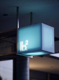 Iconic blue backlit Marblo signage