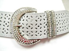 "WOMENS BIG SILVER BUCKLE W RHINESTONES CHIC HOLES DESIGN BELT GRAY 45"" US $15.95 FREE Standard Shipping"