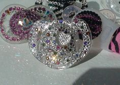 Crystal Swarovski Pacifier Multi HEART Baby Girl Boy BLING Rhinestone Gem Jeweled Glitter Diamond Crystal Dummy Soother 6-18m on Etsy, $39.00
