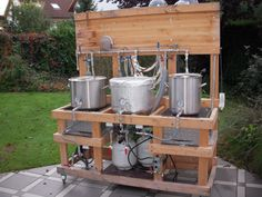 Show Me Your Wood Brew Sculpture/Rig - Page 22 - Home Brew Forums Beer Brewing Kits, Brewing Recipes, Beer Recipes, Beer Bar, Drink Beer, Pico Brasserie, Make Beer At Home, Brew Stand, Home Brewing Equipment