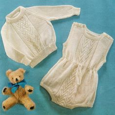 Baby Knitting Pattern - Romper Suit and Sweater - 18 to 20 inch chest - 4 ply