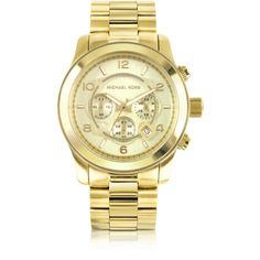 Michael Kors Men's Runway Gold-Tone Stainless Steel Bracelet Watch ($275) ❤ liked on Polyvore featuring men's fashion, men's jewelry, men's watches, oversized men's watches, blue dial mens watches, mens watch bracelet, mens chronograph watches and mens leather strap watches