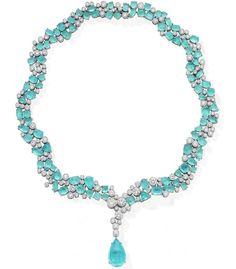 Paraiba Tourmaline Cabochon & Diamond Necklace with a 10.46 carat Paraiba pear shape cabochon drop designed by Martin Katz