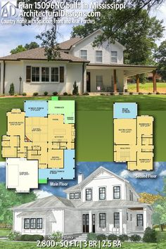 Our client built Architectural Designs House Plan in Mississippi with a brick and siding exterior. Small House Plans, House Floor Plans, Farmhouse Plans, Modern Farmhouse, Architectural Design House Plans, Southern House Plans, Storey Homes, House Blueprints, Cabins And Cottages