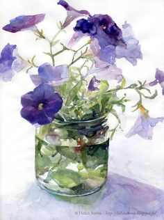 Helen Ström: And why not some Petunias before end of season? - Helen Ström: And why not some Petunias before end of season?… Helen Ström: And why not some Petunias before end of season? Watercolor Pictures, Watercolor Artists, Watercolor Techniques, Watercolor And Ink, Watercolour Painting, Watercolor Flowers, Watercolors, Petunia Tattoo, Container Flowers