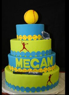 Softball cakes More (sweet treats sign) birthday Softball Birthday Parties, Softball Party, Girls Softball, Softball Stuff, Softball Cupcakes, Softball Treats, Softball Photos, Softball Things, Volleyball Pictures