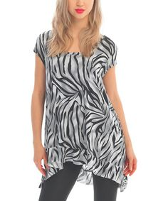 Take a look at the Zac Studio Zebra Scoop Neck Sidetail Tunic on #zulily today!