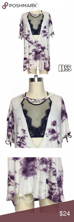 SUPER DEEP V CHOKER/COLLAR DETAIL TIE DYE TSHIRT!! SUPER DEEP V CHOKER/COLLAR DETAIL TIE DYE OVERSIZED TSHIRT!! 100% COTTON extremely worn in super soft fabric with purple tie dye design! Super DEEP V is great for layering over dresses or a coverup for the beach! Distressing at bottom, shoulders and sleeve ends! MADE IN USA. Measurements - LENGTH: 28' / BUST: 23' Marked size XXL. #vintage #handmade #selfmade #grunge #distressed #rips #tee #top Vintage Tops Tees - Short Sleeve