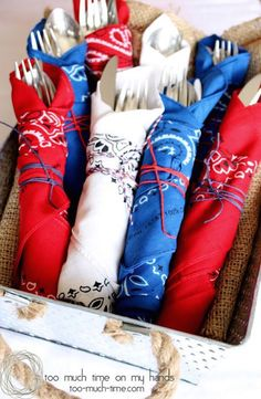 Bandana Napkins add a patriotic touch to your table - great for of July or Memorial Day. (Plus other great party ideas! Fourth Of July Decor, 4th Of July Celebration, 4th Of July Decorations, 4th Of July Party, Memorial Day Decorations, 4th Of July Games, 4th Of July Outdoor Games, 4th Of July Ideas, Americana Decorations