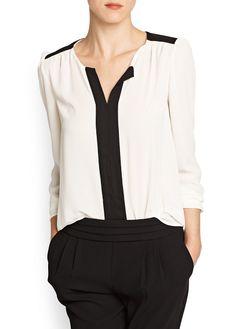 MANGO - CLOTHING - Tops - Contrasting panels chiffon blouse