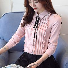 Women'S daily work blouse - solid colored shirt collar blushing pink l / spring / fall / floral Sexy Blouse, Blouse And Skirt, Work Blouse, Hijab Fashion, Korean Fashion, Fashion Dresses, Cute Blouses, Blouses For Women, Vetement Fashion
