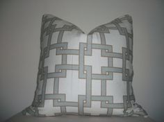 Light Blue, Camel and Off White Thom Felicia City Squares Designer Throw Pillow Cover, Accent Pillow