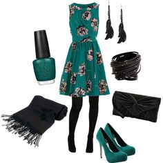 Girly but a little edgy. A floral dress and opaque tights are a great look.