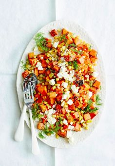 Sweet Potato, Corn and Feta Salad #sweetpotato #feta #salad