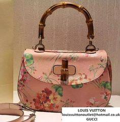 95c87270d7b Gucci Bamboo Classic Blooms Print Top Handle Bag 409398 Pink 2016