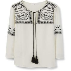 MANGO Embroidered Appliqué Blouse ($20) ❤ liked on Polyvore featuring tops, blouses, shirts, embellished tops, round neck shirt, embellished blouse, tie blouse and pom pom shirts