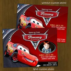 Disney CARS Lightning Mc Queen Printable Birthday Invitation Card DIY