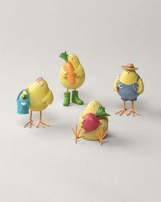 Set of four gardening birds