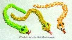Serpent en élastiques Rainbow Loom Tuto de difficulté moyenne